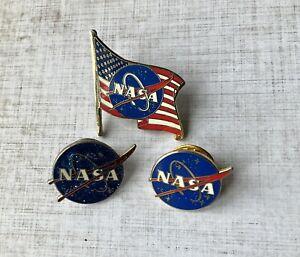 NASA pin Badges X3 USA Space Exploration Aeronautical Flight Collectable