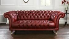 XXL Rot Sofa 3 Sitzer Couch Chesterfield Polster Sitz Garnitur Leder Textil