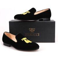 Handmade FERUCCI Men Black Velvet Slippers loafers with Gold Embroidered Tassel