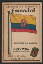 Flag of ColOmbia  - c1949 Trade Advertising Card Latin South America