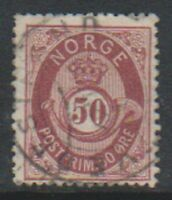 Norway - 1877/9, 50 ore Maroon stamp - G/U - SG 62