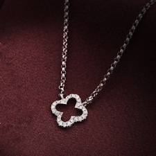 Natural Diamond Four Leaf Clover Pendant Necklace Chain Solid 14K White Gold
