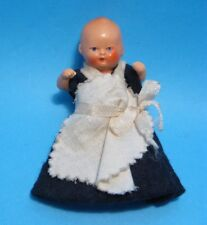 "1930 German 3"" Composition Baby Doll Hertwig? Blue Felt Dress Jointed Dollhouse"
