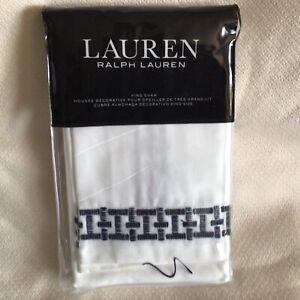 Ralph Lauren Spencer Embroidery Sateen King Sham White / Navy $150 NEW