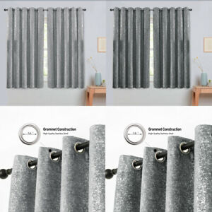 Heavy Grey Silver Drapes Sparkle Thermal Blackout Eyelet Ring Top Half Curtains