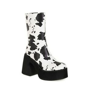 Nightclub Women Square Toe High Heel Side Zip Platform PU Leather Mid-calf Boots