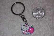 Hello Kitty & Apple Keychain!  pink purple green enamel