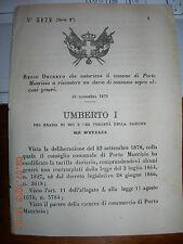 REGIO DECRETO 1879 AUT COMUNE PORTO MAURIZIO riscuotere dazio PIPE PIOMBO CACCIA