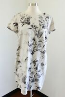 Ann Taylor Loft Gray Floral Bird Vintage Print Linen Shift Dress Size 8P P8