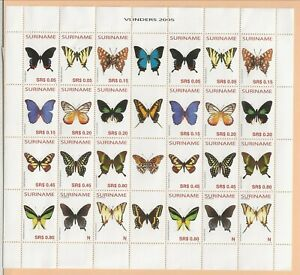 SURINAM/SURINAME Sc 1323 NH MINISHEET W/TABS of 2005 - BUTTERFLIES