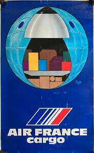 Raymond PAGES 1974 Affiche Ancienne Originale AIR FRANCE CARGO
