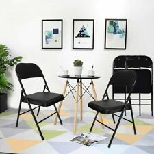 6/12 PACK Folding Chair Vinyl Upholstered Padded Seat Metal Frame Home Office