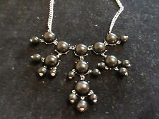Statement Collar Necklace Black Jeweled DangleThick Silver Tone Cocktail Party