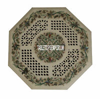 """24"""" Marble Collectible Gemstone Inlaid Arts Side Coffee Table Top Mosaic Decor"""