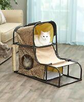 Cat Condo Scratcher Play House Hut  Kitty Bed Sisal Post Kitten Hideaway Loft