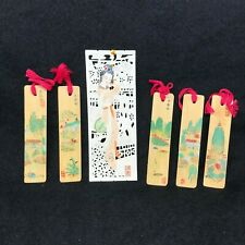 Rare Unique Oriental Vintage Book Markers 5 each Hand Painted on Bamboo -