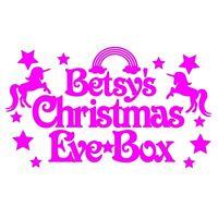 Personalised Vinyl Xmas Eve Box Topper Sticker Christmas Santa Elf Rudolph