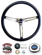 """1963-1964 Falcon steering wheel STAINLESS BLACK 15"""" Grant steering wheel"""