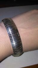 "Sevilla Silver Wide Woven 8"" Bracelet Italy"