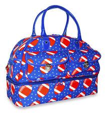Football Drop Bottom Duffel Bag Duffle Shoe Compartment Travel Luggage Blue