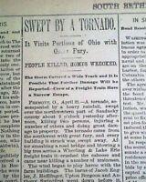 FREMONT Sandusky County OHIO Rain Storm TORNADO Disaster 1896 Old Newspaper