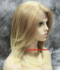 Human Hair Blend Hand Tied Monofilament Lace Front Full Wig Layered Blonde Mix