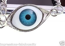 SILVER EVIL EYE CHARM ON BRONZE SILVER GOLD ALLOY NECKLACE GOOD KARMA PROTECTION