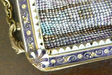 Antique French Micro Beaded Purse Enamel Amethyst Clasp Fringe Original Box