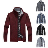 Men's Knitted Cardigan Full Zip Solid Color Thick Sweaters Winter Fit Outwear