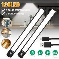 126 LED PIR Motion Sensor Closet Light Cabinet Night Wall Lamp USB Rechargeable