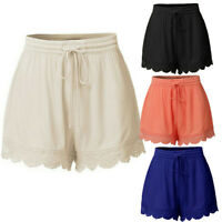 ❤️ Women's Lace Elastic Waist Drawstring Summer Beach Shorts Hot Pants Plus Size
