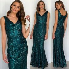 Size 12 Gorgeous Sequins Ball Gown Formal Party Wear Emerald Green