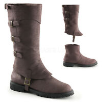 Black Steampunk Renaissance Ren Faire Medieval Knight Costume Boots Mens 8 9 10