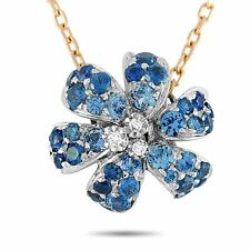 Gucci Flora 18K Rose and White Gold Diamond and Sapphire Necklace