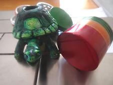 Green Turtle Tobacco Smoking Pipe + 4 pcs. Metal Grinder No  Glass 1528GRN + RG