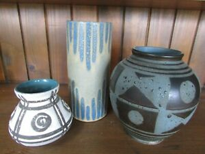 Three Braemore Carstens Pottery Vases BC Signed Australian Mid Century