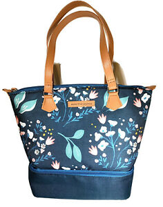 Arctic Zone Floral Insulated Tote Cooler Bottom Zip Storage + Food Containers