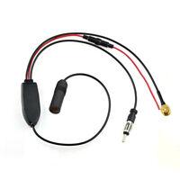 DAB FM/AM CAR Antenna Aerial Splitter Adapter Cable Digital Radio SMA +Amplifier