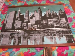 RARE Mid-Cent ROBERT BUSHONG TOM TRU Tapestry Hung SIGNED N.Y.CITY Skyline NWT
