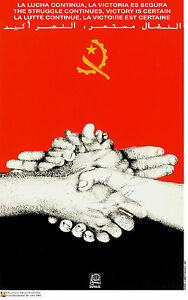 Political OSPAAAL poster.ANGOLA certain Victory.Africa 38.Socialist History art