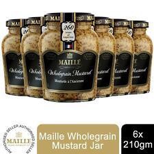 6 Pack Maille Mustard Jar, Wholegrain, 210g