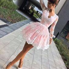 Pink long sleeve lace short Homecoming party Prom Dress Evening formal Dresses