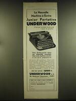 1932 Underwood Junior Portable typewriter Ad - in French - La nouvelle machine