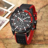 Mens CURREN Sport Quartz Watch Watches Genuine Leather Fashion Wristwatch