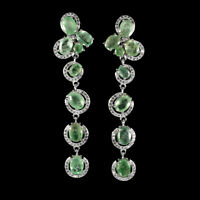 Unheated Oval Green Emerald 7x5mm White Cz 925 Sterling Silver Big Earrings