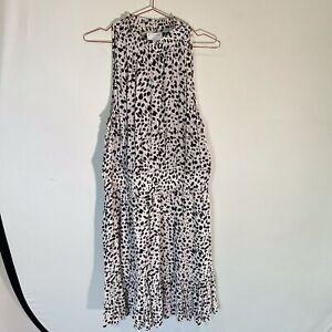 Witchery High Neck Print Dress - Ocelot - 14 - Elastic Waist - Worn Once Only -