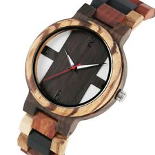 Classic Full Wooden/Leather Band Watch Unisex Nature Wood Wristwatch Quartz Move