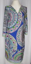 Womens XL Knit Dress Kaleidoscope Blue Multi Peck & Peck Stretchy