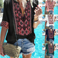 US Summer Women T-Shirt Boho Print Tee Deep V-Neck Long Sleeve Shirts Top Blouse