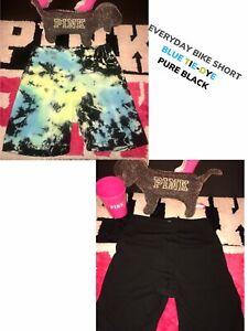 Victoria Secret PINK EVERYDAY BIKE SHORT S M L XL YOGA COTTON Tie-Dye Black